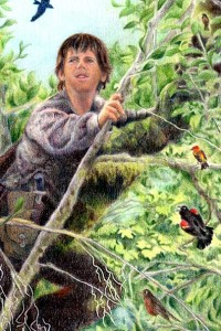 Artwork by Joanna Colbert with the author as model in willow tree with songbirds.