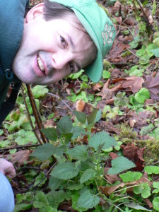 Wolf Camp and the Wolf College founder, Chris Chisholm, about to harvest Stinging Nettle (the Pacific Northwest's #2 survival food) for dinner.