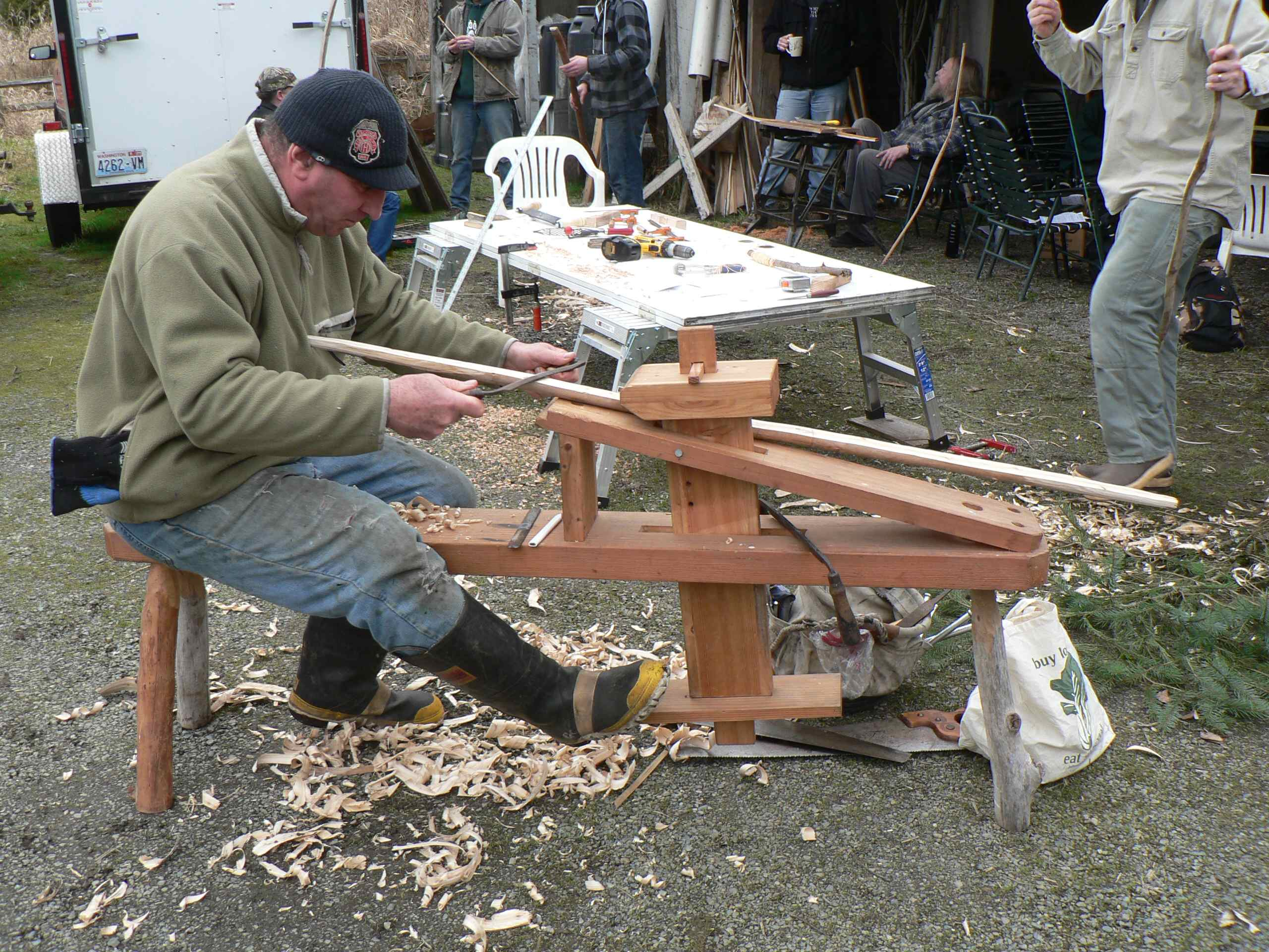 Bow Making Workshop Participant Brought His Own Woodwoorking Horse