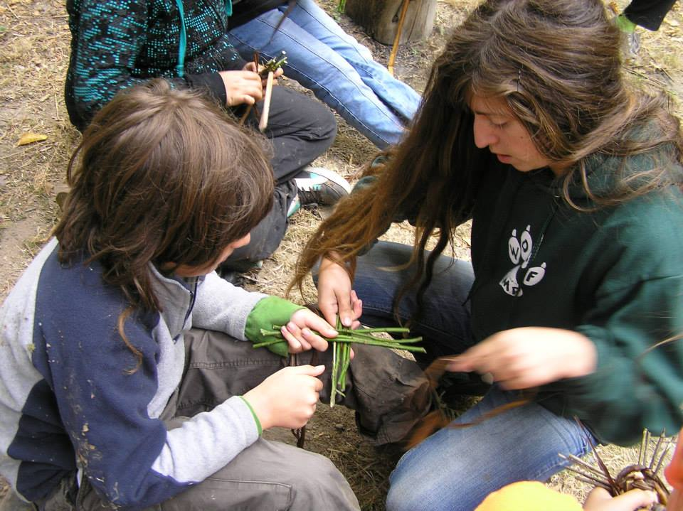Artisan Camp - making baskets using willow and iris.