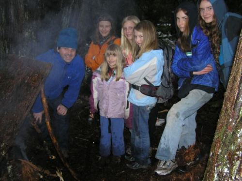 Homeschool Classes in Bellingham, Olympia and Vancouver Learn to Prepare for Emergencies Including How To Build an Emergency Shelter and Make Fire